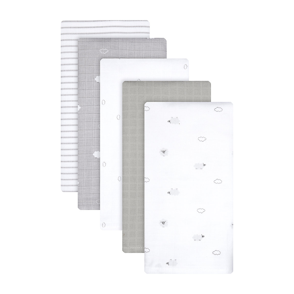little lamb extra-large muslin blankets - 5 pack