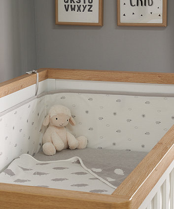 little lamb 3-sided mesh cot bed bumper