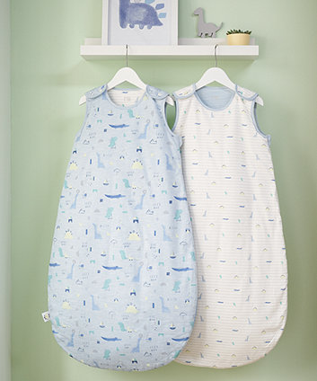 mothercare sleepysauraus 2.5 tog sleep bags (0-6 months) - 2 pack