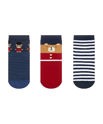 bear soldier terry socks - 3 pack