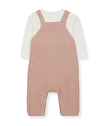 pink lurex knit dungarees and spot bodysuit set