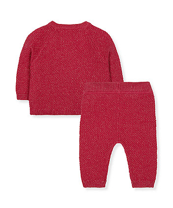 sparkly red deer knitted jumper and joggers set