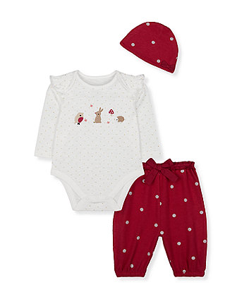 embroidered animal bodysuit, spot joggers and hat set