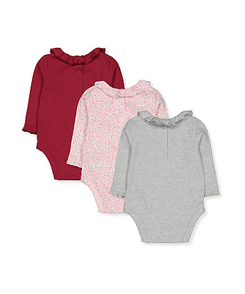 winter animals, red and floral bodysuits - 3 pack