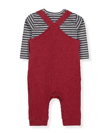 red animal brushed rib dungarees and grey stripe bodysuit set