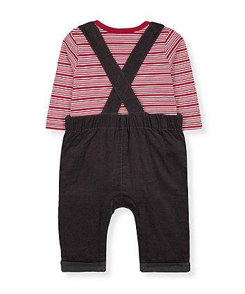 animals cord dungarees and stripe bodysuit set
