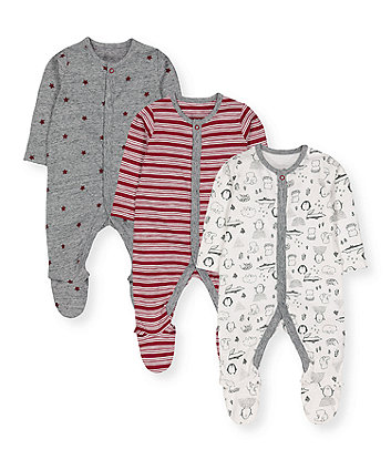 winter woodland animals, stripes and stars sleepsuits - 3 pack