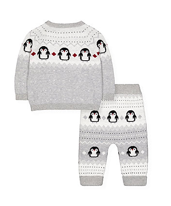 penguin knitted jumper and joggers set