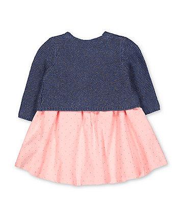 pink glitter spot cord dress and cardigan set