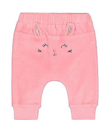 pink velour bunny joggers
