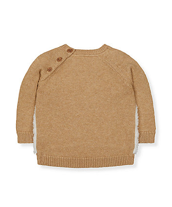 cream fluffy bear knitted jumper