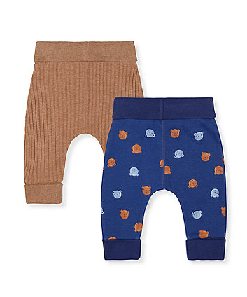 blue bear and brown rib joggers - 2 pack