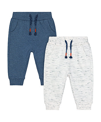blue and oatmeal joggers - 2 pack