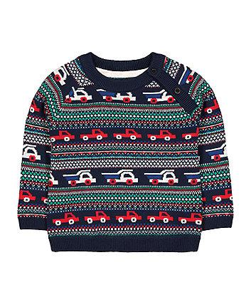 cars fairisle knit jumper