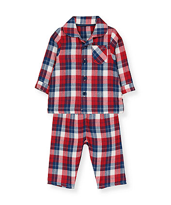 red and blue check woven pyjamas