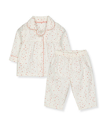white and pink star woven pyjamas