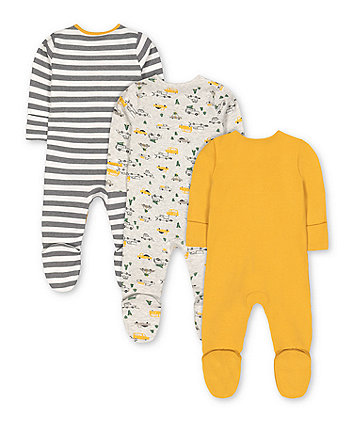 stripe, snowplough and christmas tree sleepsuits - 3 pack