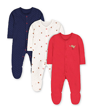 little robin sleepsuits - 3 pack