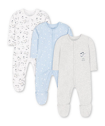 stars and penguins sleepsuits - 3 pack