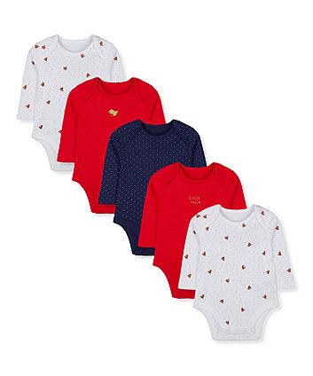 little robin bodysuits - 5 pack