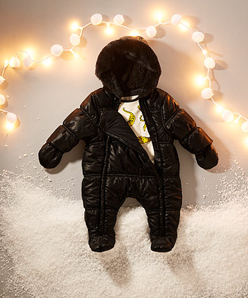 my k black quilted snowsuit