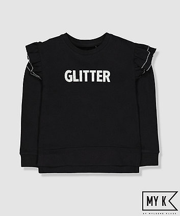 black glitter sweat top