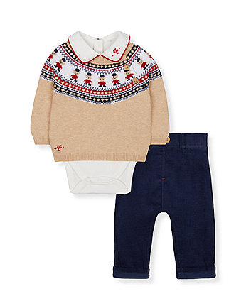 navy trousers, bodysuit and jumper set