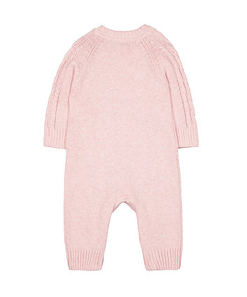 pink cable-knit all in one