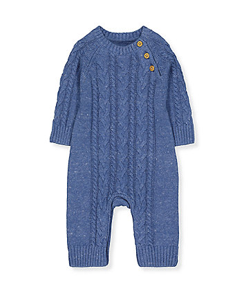 blue cable-knit all in one