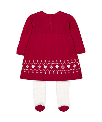 red knit dress and white tights set