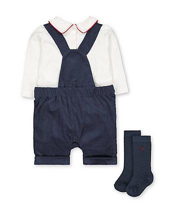 navy bibshorts, bodysuit and socks set