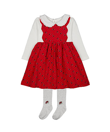 red cord pinny dress, bodysuit and tights set