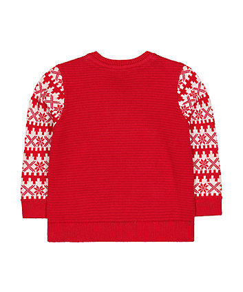 festive red reindeer knit jumper