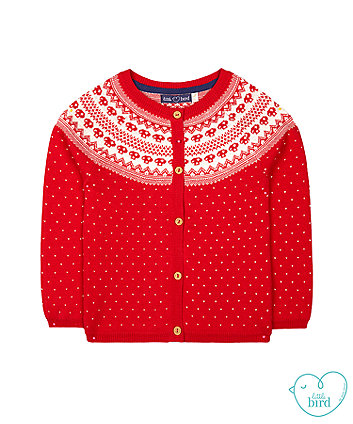 little bird red fairisle cardigan