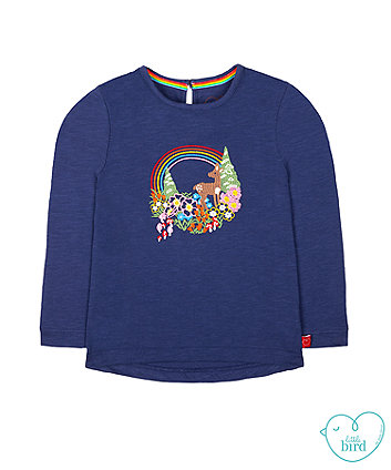 little bird navy deer t-shirt