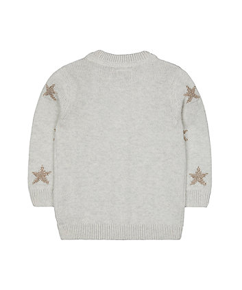 grey glitter star cardigan