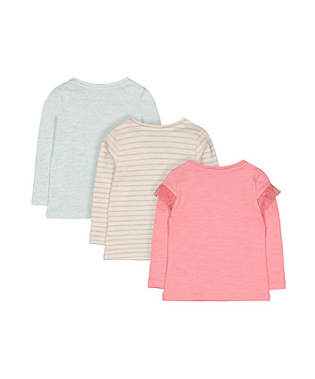 pink sparkle, blue and stripe t-shirts - 3 pack