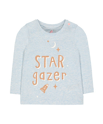 blue glitter star gazer t-shirt