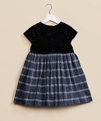 navy velour check dress