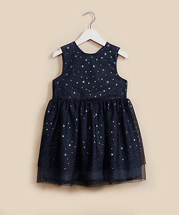 navy star mesh party dress