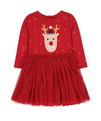 festive red reindeer twofer dress