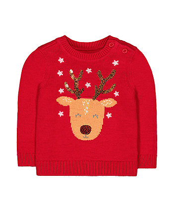 red knitted reindeer jumper
