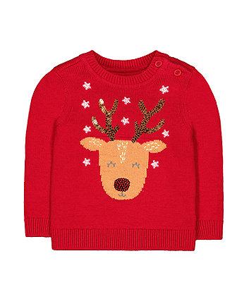 red knitted reindeer jumper