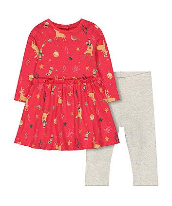 festive red reindeer dress and grey leggings set