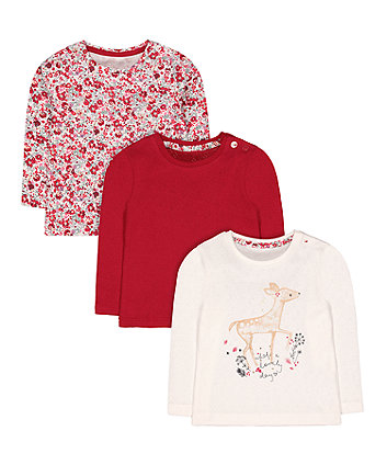 floral, cream deer and red pointelle t-shirts - 3 pack