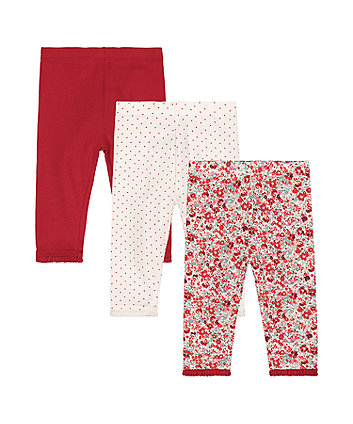 red floral leggings - 3 pack