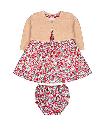 ditsy floral smock dress, beige cardigan and knickers set