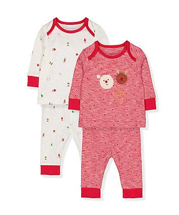 festive christmas santa pyjamas - 2 pack