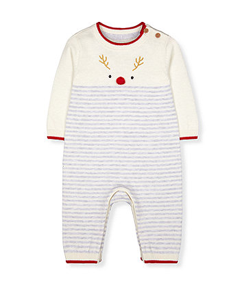 festive rudolph reindeer stripe knit all in one