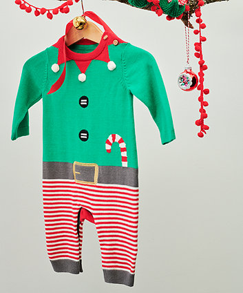 festive knit santa's elf all in one